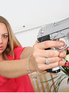 Average office girl turns out to be male captivator that is hiding a firearm weapon under the skirt