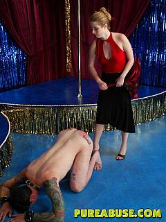 Mistress taming the guy by forcing him to eat her feet and take strap-on cock into his ass doggy style