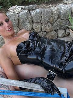 Babe is topping submissive ,ale in light latex pants enjoying the way he is sucking her nipples
