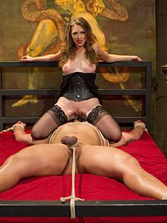 Posh woman is waiting for a kinky dat to torture male with extreme bondage, facesitting, hard whipping and denied orgasms