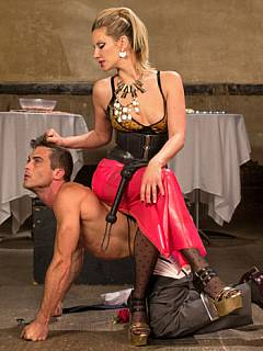 Romantic evening is made even more enjoyable by beautiful dominatrix in latex and lingerie who punished and fucked her man