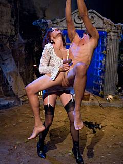 Mysterious and sexy female creatures are coming out from their hideout to torture and tease man in this Halloween femdom fantasy