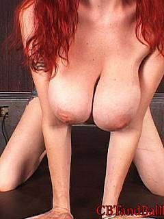 Tease and denial scene where sexy redhead is nude in front of you, humiliating your tiny cock and gicing up blowjob to another guy