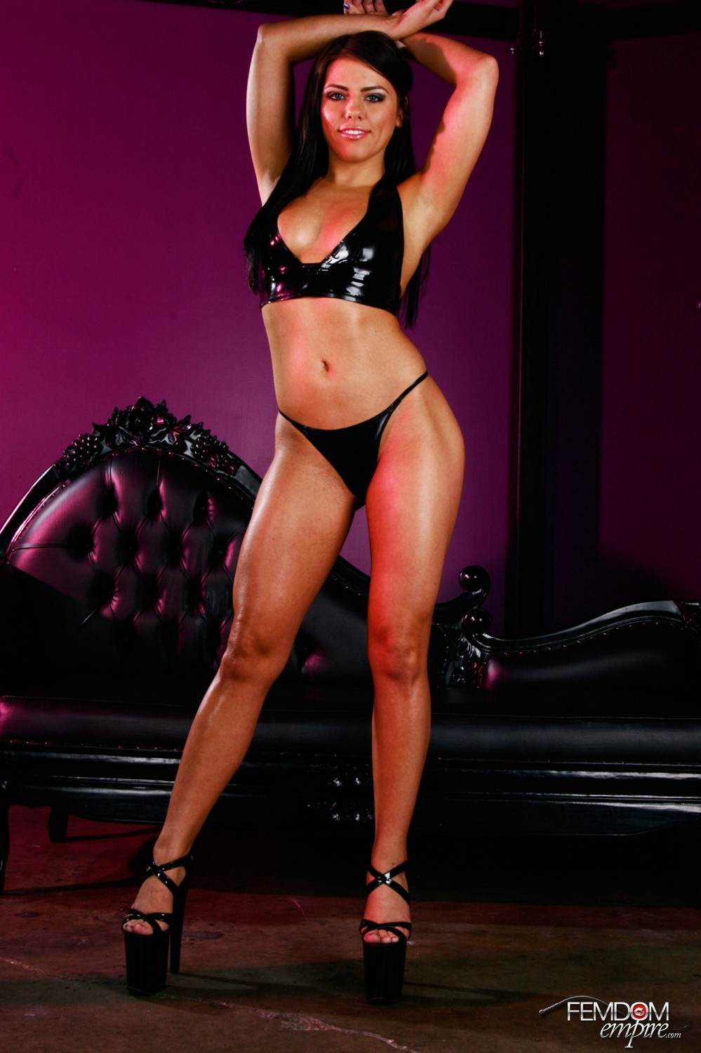 Picture #5 of Black rubber lingerie and massive strapon cock are turning this babe into one of the hottest dommes ever