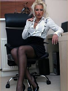 Lady boss is in her chair - spreading legs forcing you to worship her