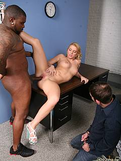 Cuck husband approves the new black lover blonde wife choose to fuck with