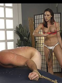 Yoga instructor takes over her trainee dominating him with her feet, bondage and strapon in his ass