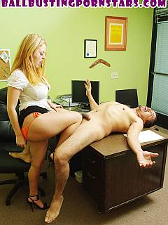 Lady boss is going to kick employee balls with her feet, then bite them off, chew and spit out