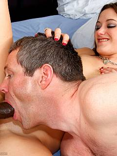 There is an experienced cuckolding bitch behind that innocent look: she sprays her man with lover's cum handling his big black cock like a pro