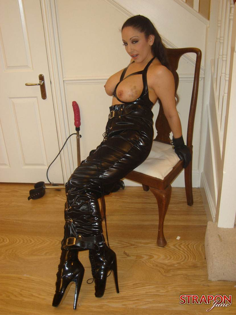 Handcuffed lesbian dominatrix