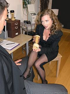 Sexy office bitch is forcing male to drop his pants and use a fleshlight during job interview