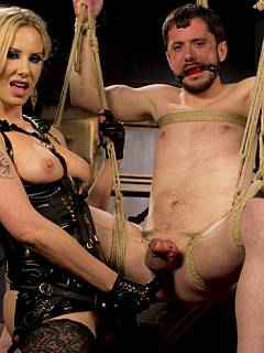 Tape-bound slave meets the Goddess and then goes into BDSM suspension to take her strapon into his ass