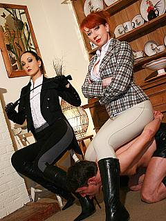 A couple of passionate femdom ladies are dressed up right to ride the trained ponyboy