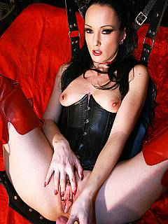 Dominant lady is in the love swing: warming her up with the dildo and then taking slave's cum load into her pussy