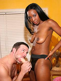 White sissy has way too small penis to satisfy black mistress: she takes out a strap-on to bang him instead