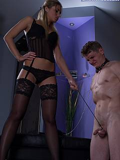 Smoking blond is spitting slave in his mouth and then gives him a chance to worship her feet
