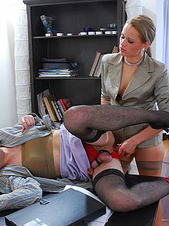 Cross-dresser is working as a secretary waiting for every chance for dominant lady-boss to punish and fuck his ass