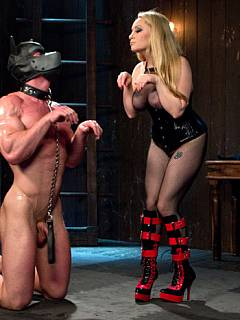 Busty blond is controlling big and strong man making him beg for his ass to be fucked and cry for the permission to cum