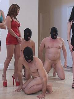 A bunch of girls are having lots of fun in the ass-licking class each bringing her own kneeling slave