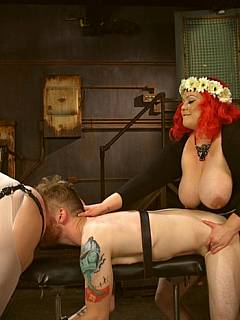 Poor guy is taken into sexual slavery by a couple of fat bitches: forced to lick and fuck their cunts in bondage