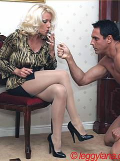 Smoking Goddess is into tease and denial with her slutty mouth and heavenly sexy feet in nylon