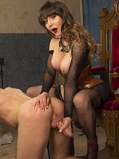 Transgender beauty turned herself into a woman to be able enjoy femdom action and fuck men with strap-on