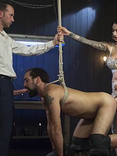Woman turned her husband into an ultimate cuckold: he is submitting in bondage, taking strap-on into his ass and blowing real cock to pleasure her
