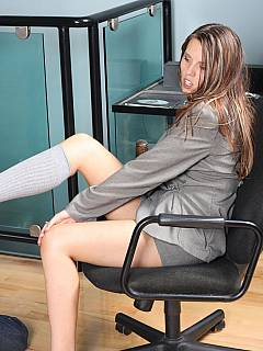 Kneeling slave is trained to bring socks and dress up his mistress