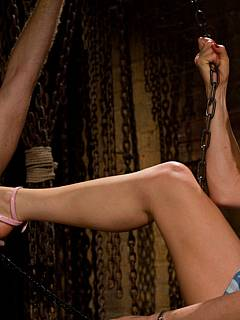 Poor slave takes abuse from the hot blond in the form of high heel shoes kicks, helpless bondage and anal strap-on invasion