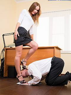 Office is the place where sexy secretary can dominate her boss and turn him into her foot slave