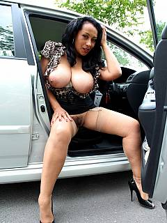 Busty wife is on a dogging mission: cruising behind the wheel, not wearing her knickers and searching for strangers to fuck