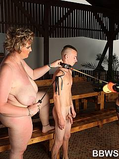 Dude is becoming a ponyboy: taken to the stables and fucked by two juicy moms