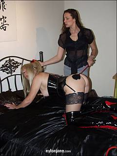 MILF lesbian sub is having a whipping session with famous femdom Goddess