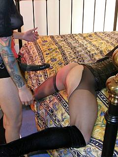 Fetish babe with a strap-on is having fun banging feminized sissy in his ass and making him cum all over himself