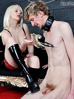 Skinny slave takes abuse from the blond Goddess: foot licking nipples twisting and cock canning