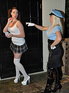 Naughty schoolgirl is caught smoking: arrested, handcuffed and punished by the slutty cop girl