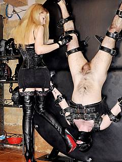 Beautiful blond is in her chamber: binding up men with different kinds of equipment and using BDSM toys for punishments and tortures