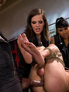 Poor guy is taken over by not just one or two but by three cruel femdom ladies eager to punish and torture