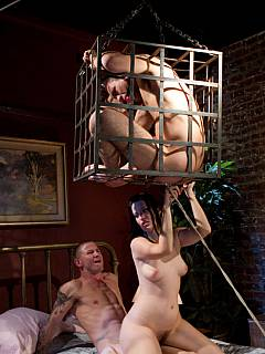 Cock-caged cuckold husband is forced to become glory hole slave and watch his dominant woman is fucking another guy