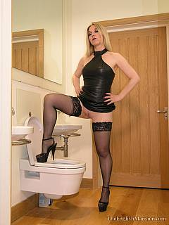 Dirty femdom pig is there to lick toilet clean for the mistress and then to drink piss out of her strap-on cock made with advance technology