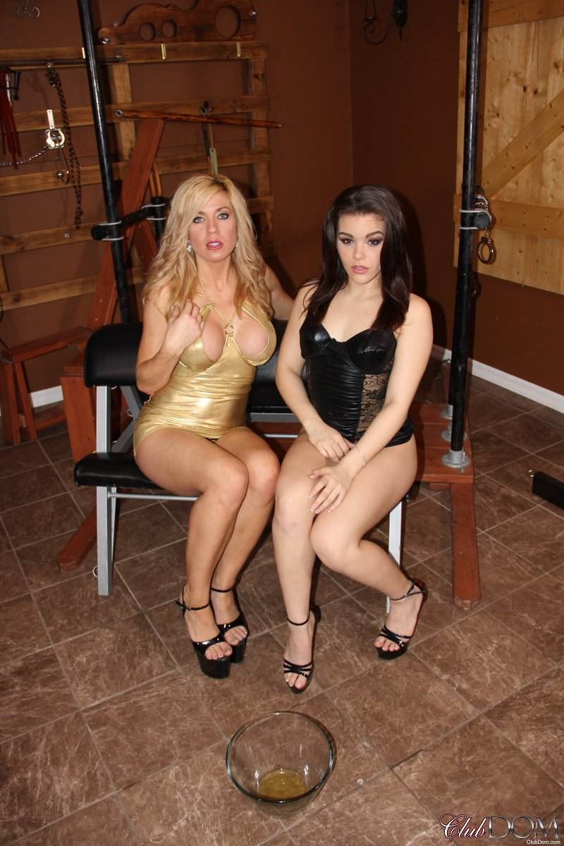 Picture #2 of One leggy slut invited another to enjoy a peeing session with a submissive slave serving a bowl
