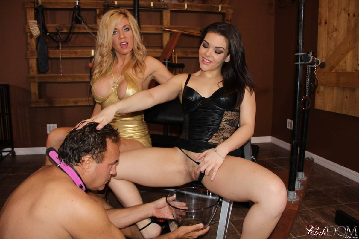 Picture #7 of One leggy slut invited another to enjoy a peeing session with a submissive slave serving a bowl