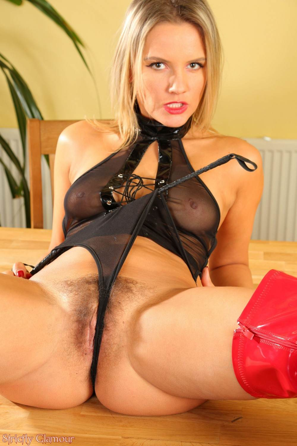 Picture #5 of Become submissive to obey the blond mistress and maybe she will let you sniff her hairy pussy afterwards