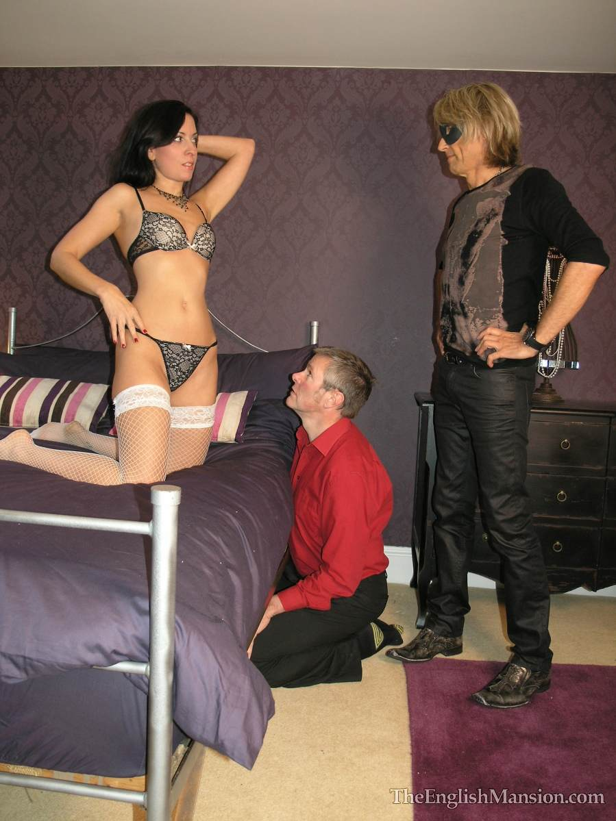 Picture #3 of Wife is turning hubby into a cuckold and laking him suck lover's cock