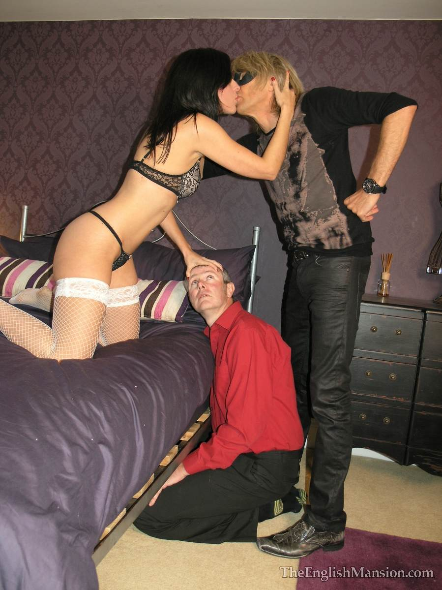 Picture #5 of Wife is turning hubby into a cuckold and laking him suck lover's cock