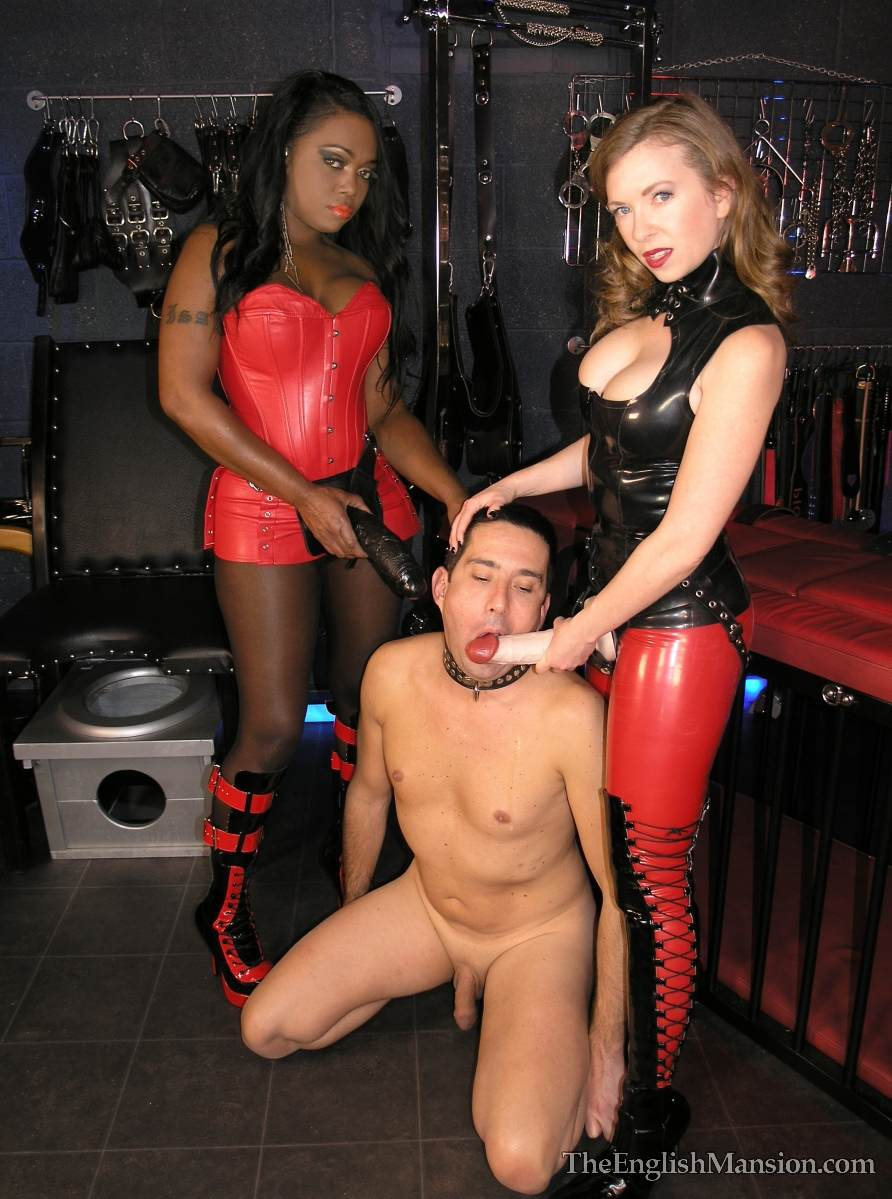 Picture #3 of A team of black and white girls are in the BDSM chamber: turning slave into anal sissy with a pair of really big strap-on toys