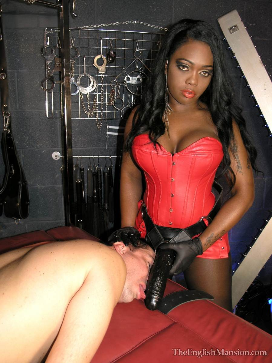 Picture #7 of A team of black and white girls are in the BDSM chamber: turning slave into anal sissy with a pair of really big strap-on toys