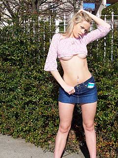 Teen mistress is enjoying a cigarette before going on a dogging mission