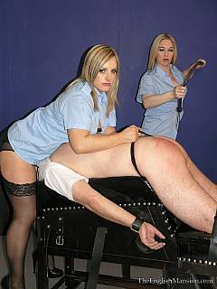 Hot sluts in stockings and uniforms are dominating men in prison: searching, handcuffing and whipping