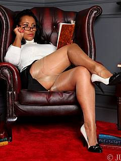 Horny librarian is in need of a man to shove his face in between her legs and lick the pussy